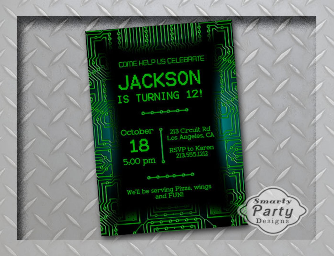 Celebrate Your Boys Birthday Party With This Cool Roller Skate Invitation Features A Green Circuit Board Background To Announce His