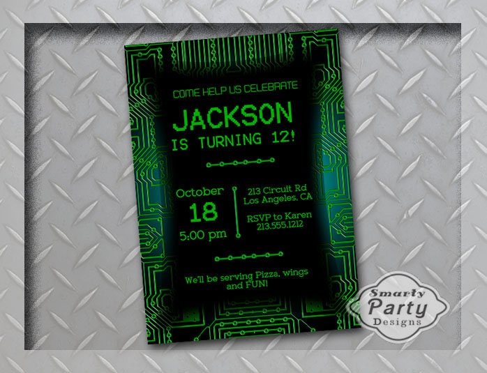 Boy Teen Tween Birthday Party Invite Computer Circuit Board