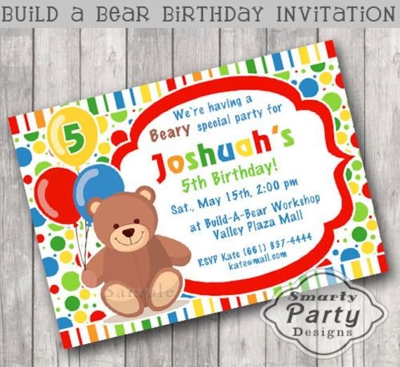 build bear birthday party invitation teddy bear invite etsy