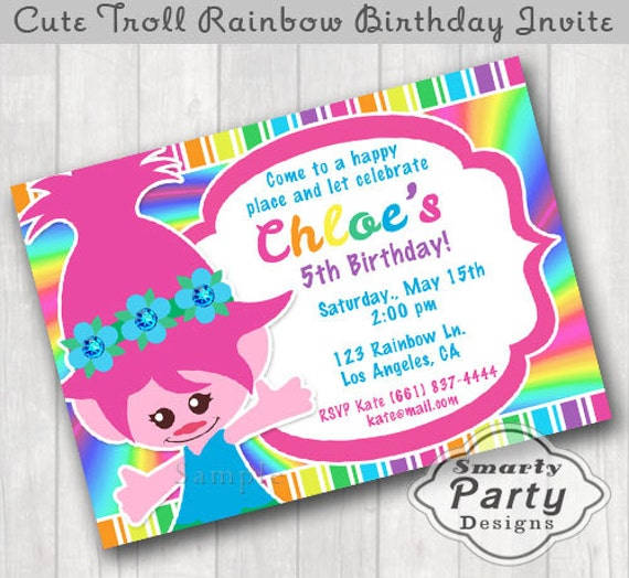 Cute troll girl birthday invitations invite printable etsy image 0 filmwisefo