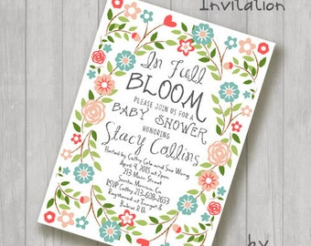 In Full Bloom Floral Baby or Bridal Shower Invitations Invite You Print Personalized Customized 5x7 or 4x6