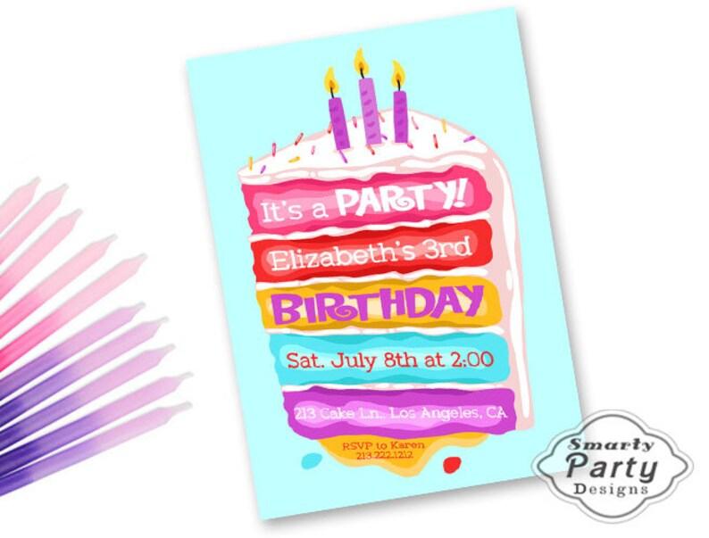 Birthday Cake Invitations Invite Candles Icing Sprinkles