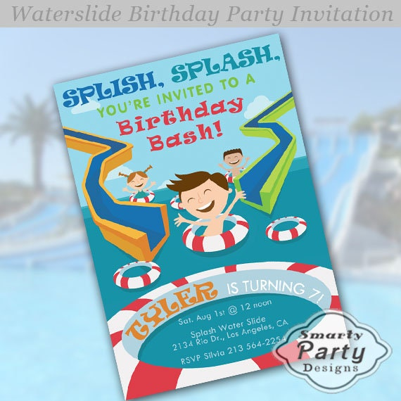 Announce The Celebrate Your Boys Birthday Party With This Cool Water Park Or Swimming Pool Invitation It Features Slides And Float Rings In A