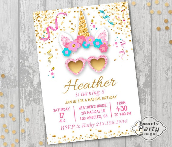 8ff0a01d333 Unicorn Floral Heart Glasses Birthday Party Invitations
