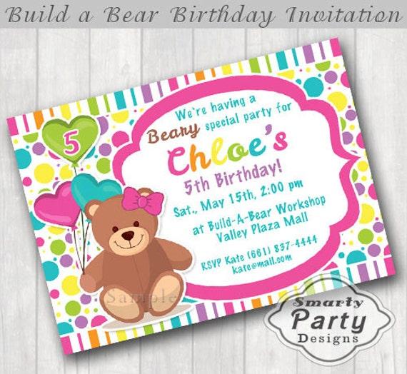 Build Bear Birthday Party Invitation