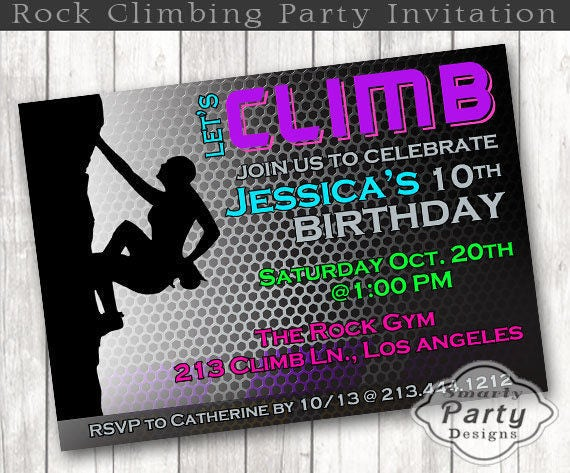 Girls Rock Climbing Birthday Invitation Climb Party