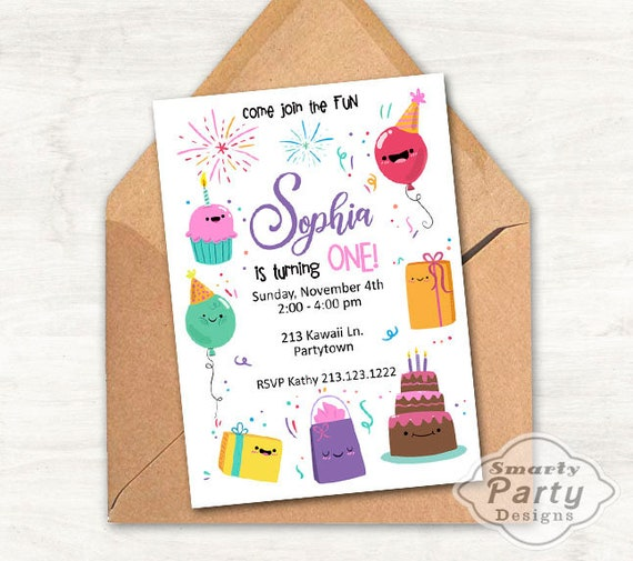 Cute Kawaii 1st Birthday Invitation One Invite Printable Personalized Smiling Balloon Cupcake Cake Present Customized 5x7 Or 4x6