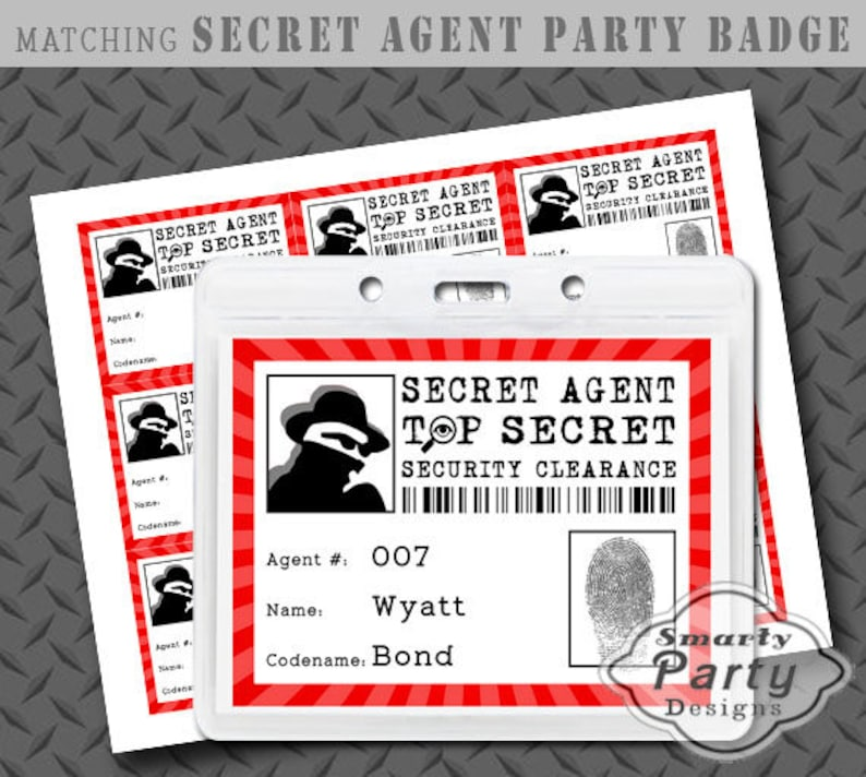 photo regarding Secret Agent Badge Printable identify Key Representative Spy Detective Bash Badge Printable PDF - Immediate Obtain