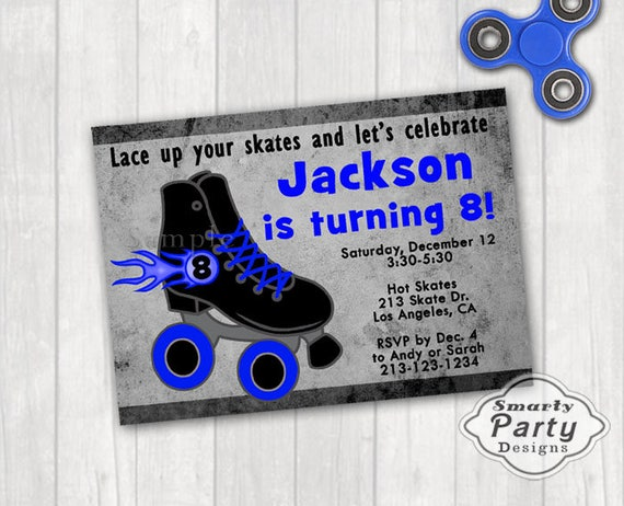 Boy roller skate birthday party invite invitation blue black etsy image 0 filmwisefo