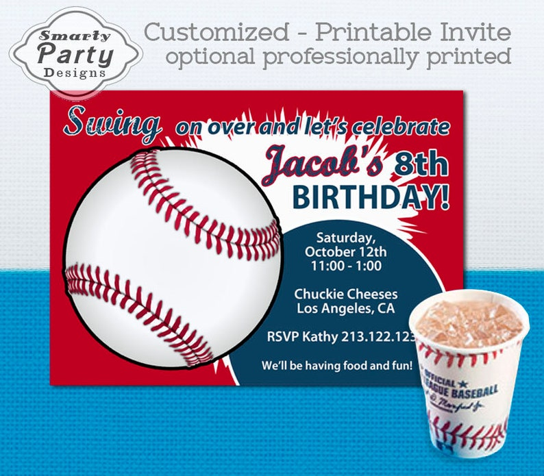 Baseball Birthday Party Invitation Invite Printable Personalized Boy Red Navy T Ball Customized 5x7 Or 4x6