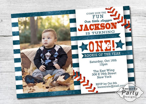 Baseball 1st Birthday Invitations Boy One Year Old