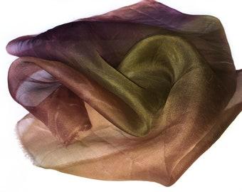Silk Organza Fabric Hand Dyed Earthy Color For Nuno Felting Jewelry Making 49 cm x 53 cm