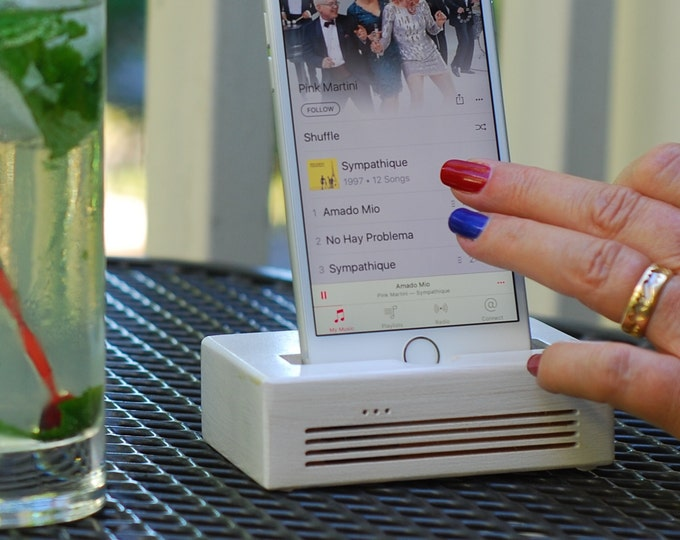 iPhone  Docking Station - The CONCERT  Speaker Dock in White – Use With or Without a Cover - Boosts the Sound