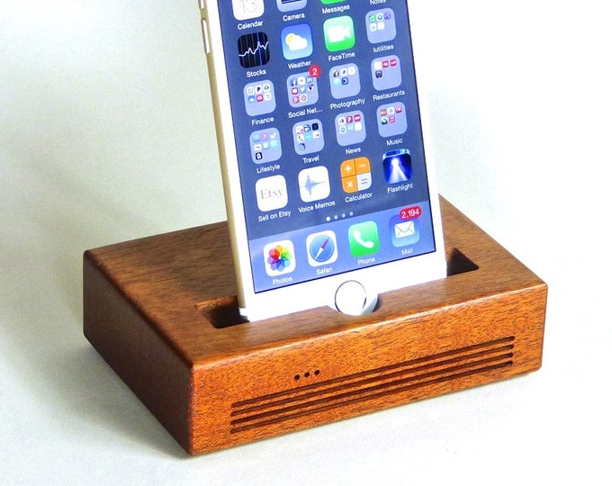 iPhone Plus Docking Station - The CONCERT Acoustic Speaker Dock  in Mahogany – Use With or Without a Case - Boosts the Sound