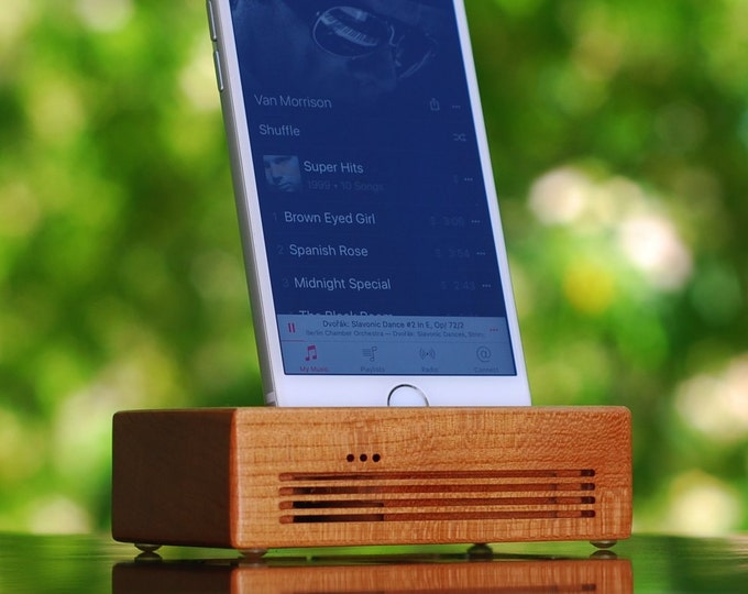 iPhone Docking Station- The CONCERT Acoustic Speaker Dock in Cherry wood – Use With or Without a Cover - Boosts the Sound