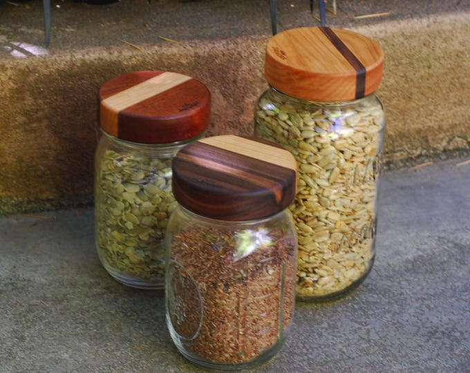 Three-pack Wooden Screw-top Mason Jar Lids  - Mixed dual woods