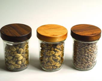 Three-pack Wide Mouth Wooden Screw-top Mason Jar Lids  - Your Choice of Wood.