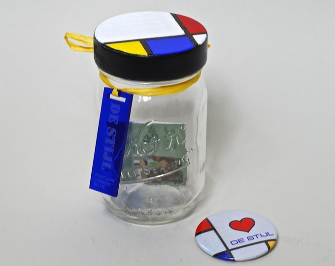 De Mondrian Mason Jar - All proceeds support Portland's DE STIJL project