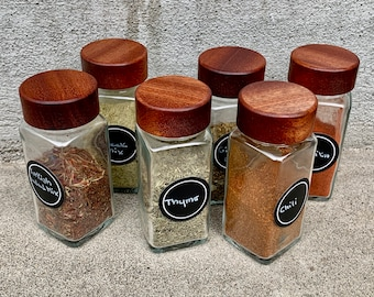 6-pack Wooden Spice Jar Lids