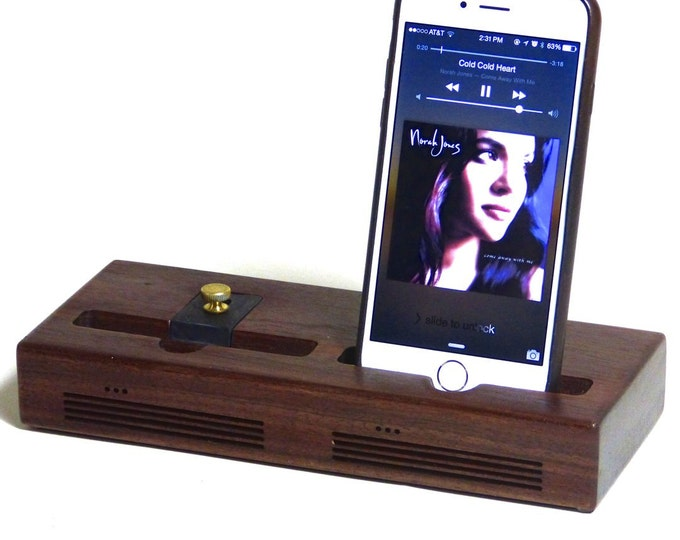 iPhone - The CONCERT Dual Acoustic Docking Station in WALNUT.