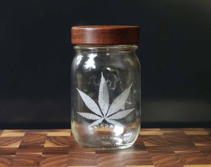 Stash Jar - One Pint - Beautifully Engraved - Custom Sealed  Lid Included