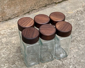 6-pack Wooden Spice Jar Lids