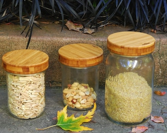 Three-pack Bamboo Screw-Top Mason Jar  Lids  - Regular or Wide Mouth