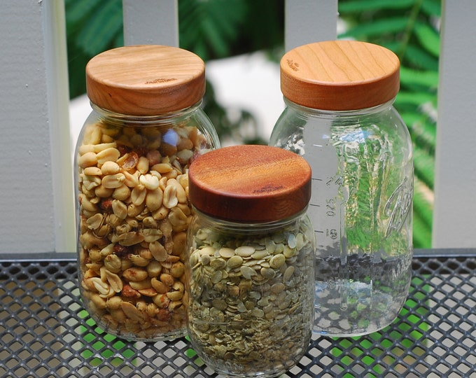 Three-pack Regular Mouth Wooden Screw-top Mason Jar Lids  - Your Choice of Wood.