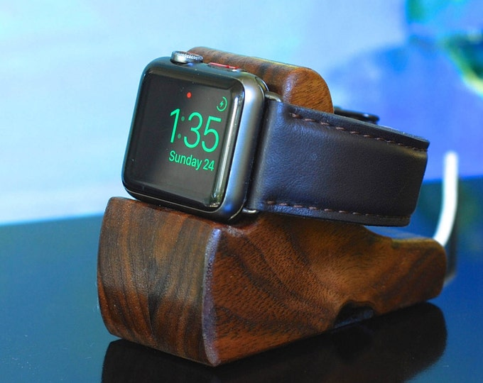 Apple Watch Dock - The RIPPLE in Walnut - Hides the cable - Perfect for Nightstand Mode .