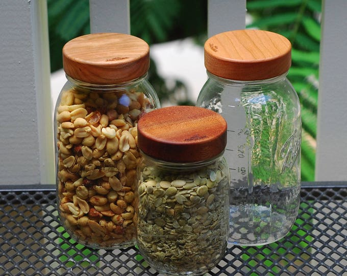 Three Wooden Screw-Top Mason Jar Lids  - Regular Mouth - Your Choice of Wood