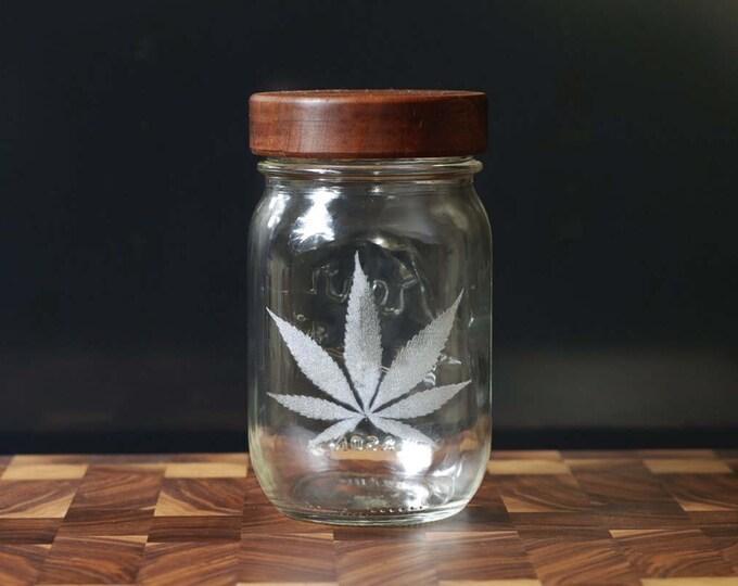 Stash Jar - One Pint - Beautifully Engraved - Custom Sealed  Lid