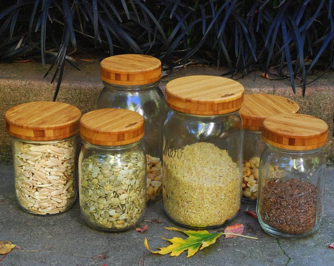 Three Bamboo Screw-Top Mason Jar  Lids  - Regular or Wide Mouth