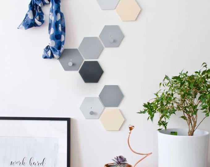 Hexagon wall hooks