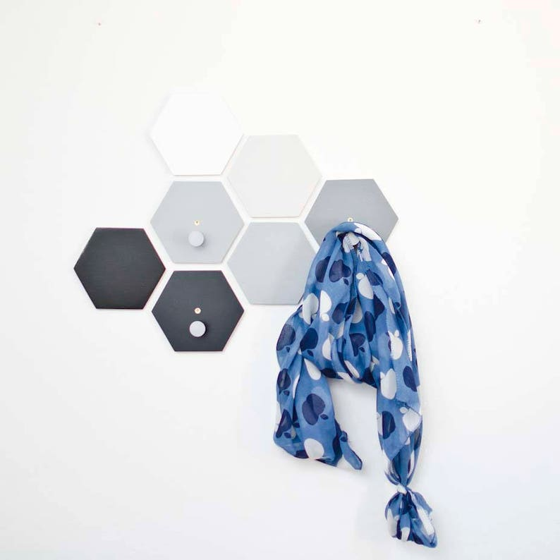Coat hooks  Entryway Wall hooks   Hexagon Clothes hooks  Gray ombre