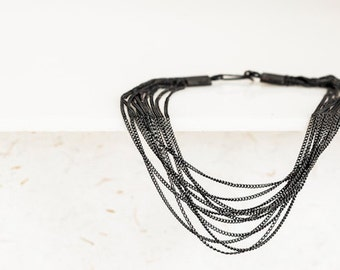 oxidised silver bracelet made of chains
