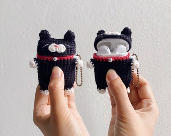 Airpods 1/2 Crochet with Silicone Case   Black Cat   Cute Case, airpods 2