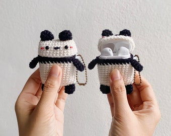 Airpods 1/2 Crochet with Silicone Case   Panda   Cute Case, airpods 2