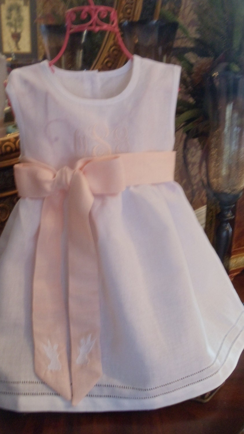 Baby And Toddler Girl White Linen Dress With Hemstitching