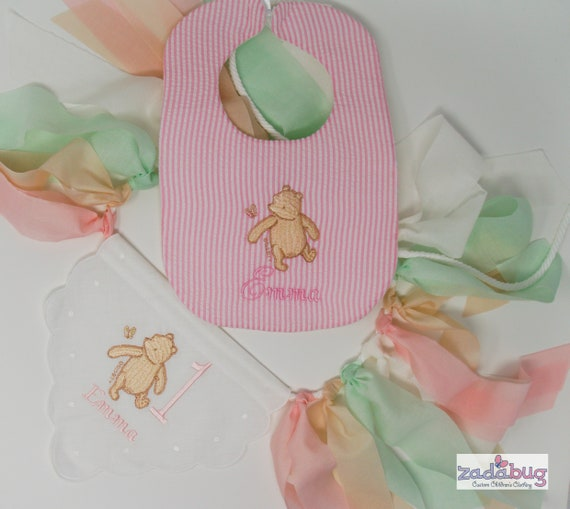 Winnie the Pooh Babys Happy First Birthday Bib Boy Girl Personalized Embroidered