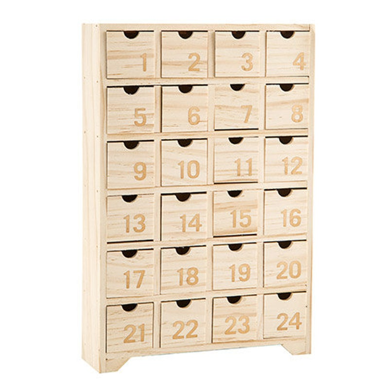 ADVENT CALENDAR BOX  Wooden Blank for CHRiSTMAS DECORaTIONS image 0