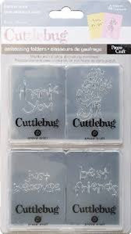 Retired Great for Diamond Press !! BEST FRIENDS by CUTTLEBUG EMBOssING FOLdER Set  of 4  2x 2.75 folders