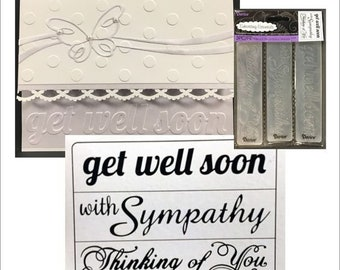 GET WELL - THINKiNG of YoU- With SYMPATHY - 3 pc. EMBOSSINg  Folder BORDERs Set - #1219-300 RETIReD !!