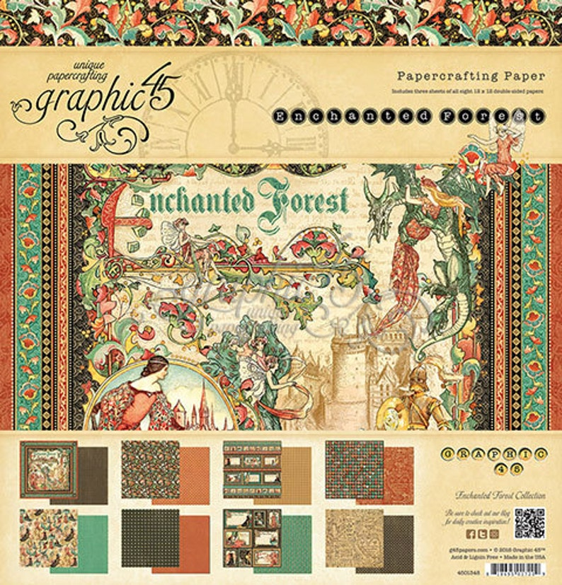 ENCHANTED FOREST 12x12 Graphic 45   VICTORiAN style CASTLEs & image 0