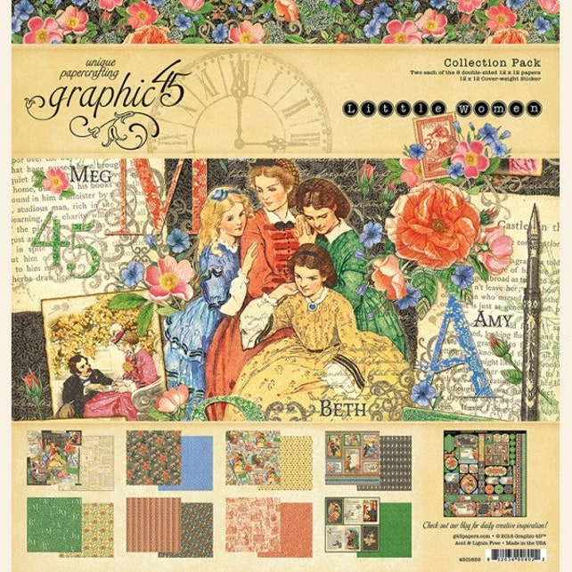Graphic 45 Little Women Brand New For Spring 2018 8x8 Etsy