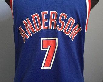 1c099cc72 90s Vintage Kenny Anderson New Jersey Nets nba basketball Champion jersey  T-Shirt - MEDIUM