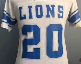 47bd5098 90s Vintage Barry Sanders #20 Detroit Lions nfl football Wilson Jersey T- Shirt - MEDIUM