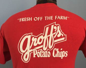 80s Vintage Groff's Snack Foods Potato Chips Fresh Off the Farm nuts candy brand T-Shirt - SMALL