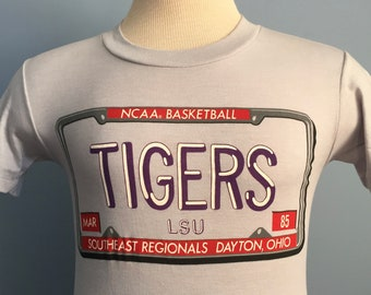 80s Vintage LSU Louisiana State University Tigers 1985 NCAA Tournament  basketball college deadstock dead stock T-Shirt - SMALL 6f3677472