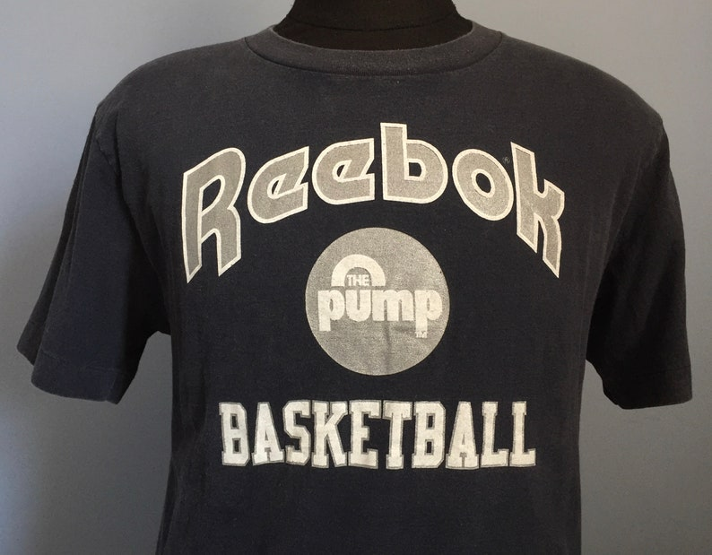 80s 90s Vintage Reebok The Pump Basketball shoes athletic sports T Shirt LARGE