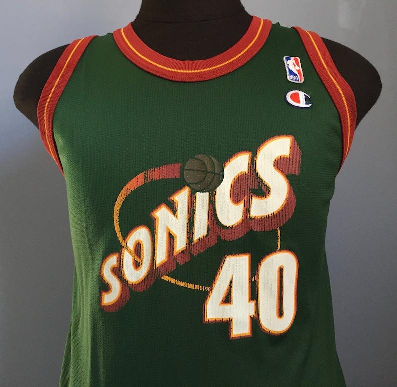 a19de7a61cd 90s Vintage Shawn Kemp 40 Seattle Supersonics Super Sonics na | Etsy